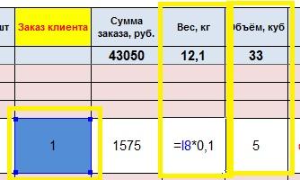 Прайс (объем и вес)